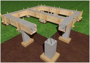 Схема столбчатого типа опорной конструкции под дом