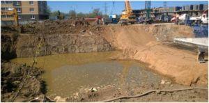 Прорыв грунтовых вод в строительный котлован
