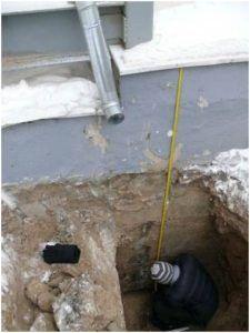 Измерение высоты бетонной заливки