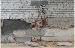 Разрушение стен и фундамента