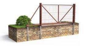 Для монтажа фундамента для откатных ворот на винтовых сваях понадобится разметить всего 3 точки расположения опор