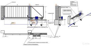 Рабочий чертеж, по которому выполняется установка откатных ворот на винтовых сваях