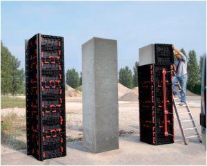 Монтаж колонн с пластиковой опалубкой