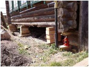 Во время подъема под приподнимаемую стену устанавливают подпорки из приготовленных заранее брусков. Поочередно поднимают все стены на установленную высоту.