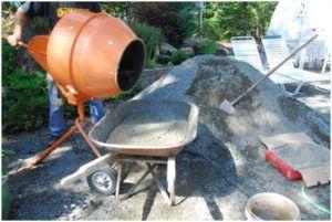 Приготовление рабочего раствора в бетономешалке