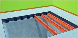 Установка металлических двутавровых балок при создании монолитного перекрытия погреба