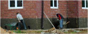 Покрытие цоколя цементно-песчаным раствором