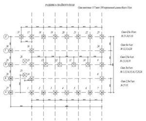 Пример схемы свайного поля