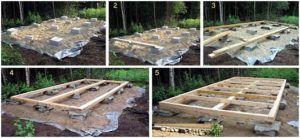 Этапы строительства основания постройки без фундамента