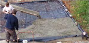 Укладка бетона с помощью автомиксера